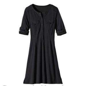 Patagonia Kamala Henley Roll Tab Dress Black Medium Stretchy Comfy
